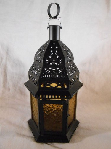 Moroccan Style CANDLE LANTERN Yellow Glass Uses Tealights or Votives (#37437)