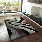 3D Black, Silver, Grey Luxurious Superior Quality Shaggy 8 x 10 Area Rug, Hand Tufted