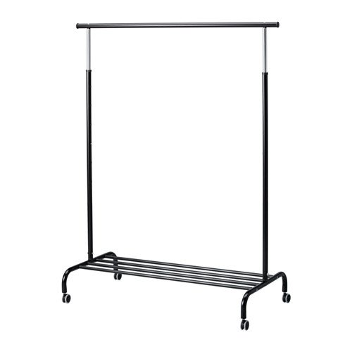IKEA RIGGA ADJUSTABLE CLOTHES RAIL WITH SHOE RACK, BLACK