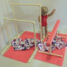 Balance Beam & Uneven Bars Gynmastics Set for American Girl Doll or 18 inch Doll w/ Mats, Carry Bags