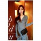ET-04 Women's Sexy V-Neck Long-sleeved Knitted Cotton Skirt - Grey