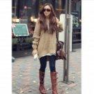 YLY-DXH-406-030# Woman's Fashionable Uneven Orlon Knitwear Sweater w/ Hood - Khaki