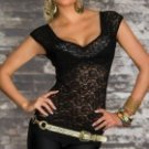 LC25090-1 Sexy Visible Front Lace Shirt Upper Garment - Black (Size M)