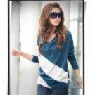 Fashion Cotton Long-Sleeve Loose Shirt for Women - Navy Blue + White (M)