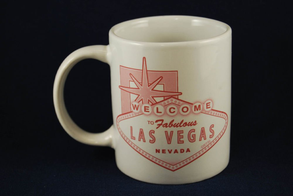 Las Vegas Ceramic Coffee Mug Cup White Pink Sign Welcome Fabulous Nevada