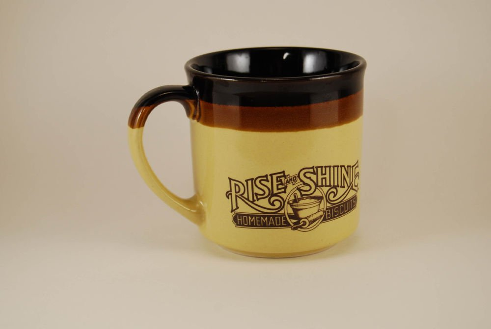 Vintage Hardees Ceramic Coffee Mug Cup 1986 Rise Shine Homemade Biscuits
