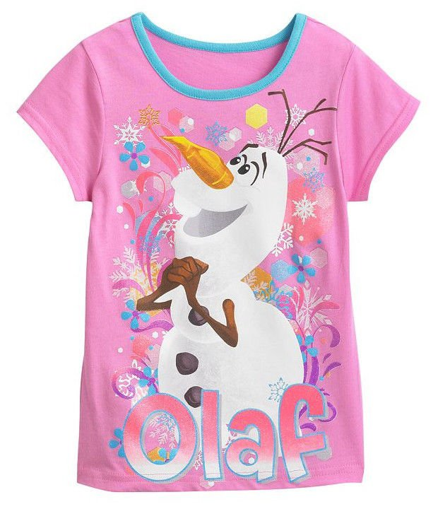 Disney FROZEN Girls Tee SIZE 4 Pink � OLAF � T-Shirt GLITTER New w Tags NWT in Bag