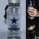 Official Licensed NFL Dallas Cowboys Clip on Plastic Waterbottle with Swarovski Crystal Bling