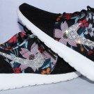 Woman Nike Roshe One Print Floral Design with Swarovski Crystal Bling Embellishment on Nike Swoosh