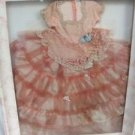 Shadow Box Display w/ 1950's Vintage Antique Doll Pink Long Dress