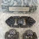 Avon Sterling Siver Textured Square Clipped Earrings & Brooch Vintage