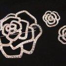 Avon Shimmering Silver Plated Flower Pin Brooch w/ Clip Earrings