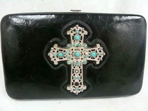 BLACK WOMENS LADIES WALLET W/ CROSS - (NICE!)