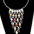 Womens Ladies Chain Link Choker w/ Stones Necklace