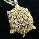 Turtle Rinestone Pendant Goldtone Vintage