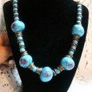 Beaded Blue Floral Brass Necklace - (L@@K!)
