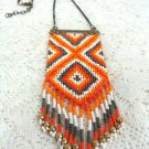 Southwest beaded Orange   Pendant w/ Chain