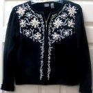 Erika Petite Black Holiday w/ Beads Sweater