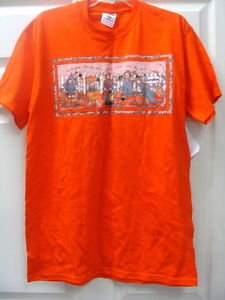 Halloween Orange Womens Ladies Heavy weight Cotton T-Shirt Size Large