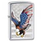 High Polish Chrome, American Flag w/Bald Eagle, Zippo