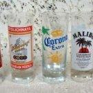 Corona, Sauza, Stole Razberi, Malibu, & Stolichaya Shot Glass Set (5)