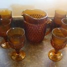 Amber Pitcher w/ Glasses Cups Tubblers (6)