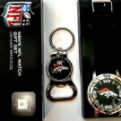 NFL Denver Bronco's Men's Watch w/ Keychain Gift Set
