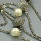 Avon Pearlesque Accent Silvertone Flapper Necklace