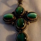 Sterling Silver Cross w/ Green Gem Stone Pendant