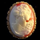 Avon Oval Cameo Lady Pendant Brooch Necklace