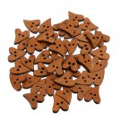 10/100 Heart Shape Brown Wooden Button Sewing Craft Decor 2 Holes