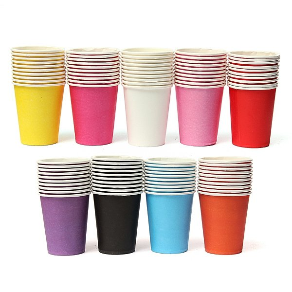 10 Pcs Colourful Paper Cups Party Home Disposable Drinking Cup