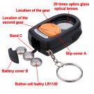 20x 21mm Magnifying Eye Glass Loupe LED Light Mini Compass
