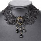 Gothic Rose Flower Beads Pendant Lace Collar Necklace Jewelry
