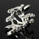 Punk Rhinestone Leaf Earring Clip Ear Cuff Silver Gold Plated
