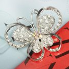 Silver Rhinestone Butterfly Alloy Pin Brooch For Women