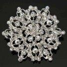 Silver Crystal Rhinestone Hollow Flower Wedding Brooch Pin