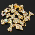 12 Styles Gold Bowknot Rhinestone Metal Nail Art Decoration Wheel