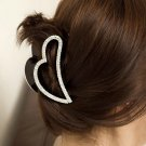 Peach Heart Rhinestone Crystal Claw Hair Clip