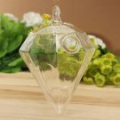 Diamond Shape Hanging Glass Flower Plants Vase Hydroponic Container