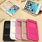 Ultra Thin Front View Window PU Leather Flip Stand Case For iPhone 6