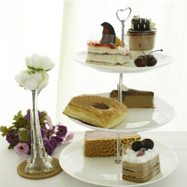 Zinc Alloy Heart-shaped Fruit Bowl Cake Plate Stand