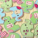 100Pcs Mixed Colorful Painting Elephant Wood Buttons Sewing Craft