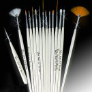 15 Nail Art Design Painting Draw Pen Polish Brush Set