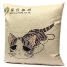 Linen Cartoon Cat Throw Pillow Case Car Cushion Cover Decorative