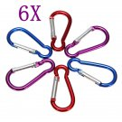 6 Pcs Metal Carabiner Clip Snap Hook Key ring Camping Sport Karabiner
