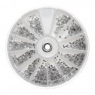 2400Pcs Clear Silver Gems Nail Art Round Rhinestones Glitter Wheel