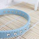 Dog Suede PU Leather Rhinestone Stud Collar Strap Buckle