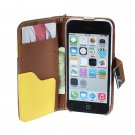 Hybrid Color Wallet Card Flip PU Leather Case For iPhone 5C