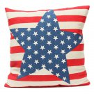 Linen Stars Stripes Flag Throw Pillow Case Sofa Cushion Cover